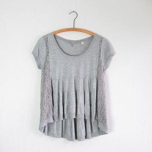 Anthro Knitted & Knotted gray knit swing blouse
